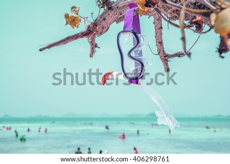 Snorkeling set Beautiful sea view wallpaper Enjoyed a relaxing summer vacation concept. Mono tone - stock photo