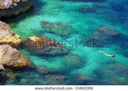 snorkelling - stock photo