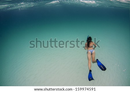 Snorkelling in a Bikini - stock photo