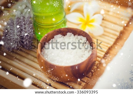 Snow against salt scrub and oil massage - stock photo