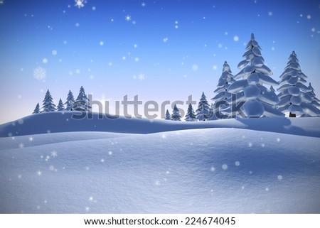 Snow against snowy landscape with fir trees - stock photo