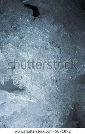Snow and ice crystals in the underground permafrost mine