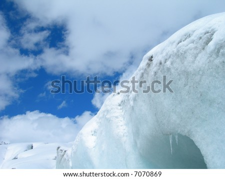 Snow and ice detail of Rhone Glacier in the Swiss Alps