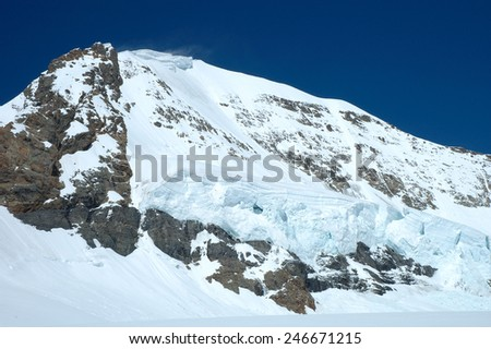 Snow and ice on Monch mountainside nearby Jungfraujoch in Alps in Switzerland - stock photo