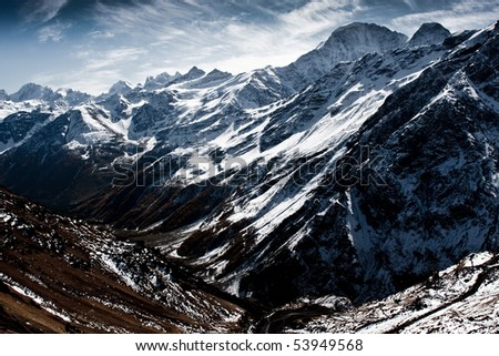 Snow and mountains - stock photo