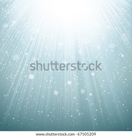 Snow and stars are falling on the background - stock photo