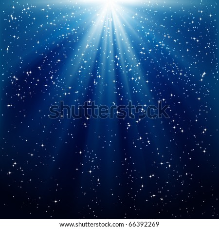 Snow and stars are falling on the background of blue luminous rays - stock photo