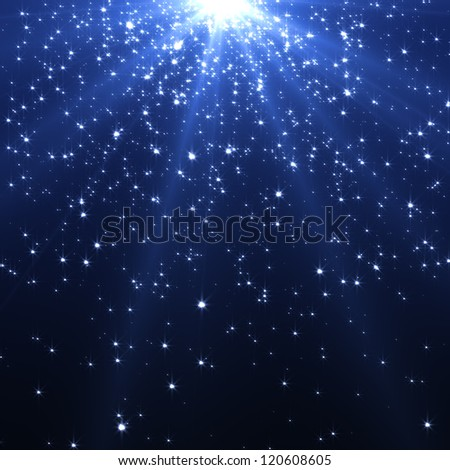 snow and stars background with rays - stock photo