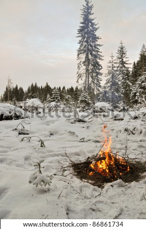 Snow around and only fire let survive tough time - stock photo