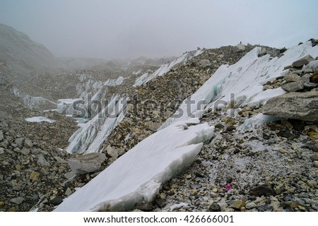 Snow at Everest Base Camp, Nepal - stock photo