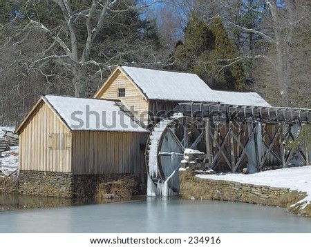 Snow at the mill - stock photo