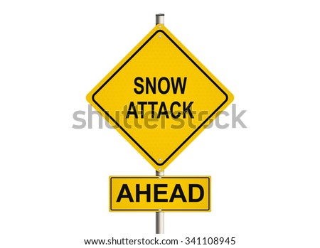 Snow attack ahead. Road sign on the white background. Raster illustration.