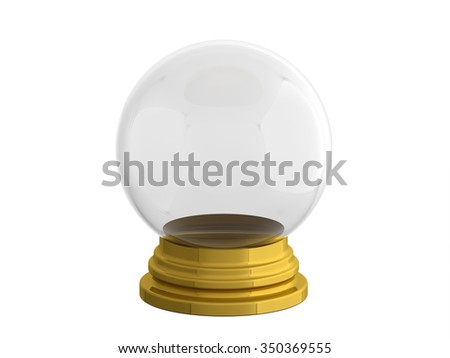 snow ball on golden stand - stock photo
