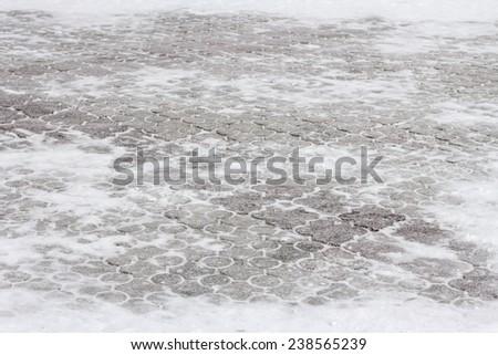 snow blocks, winter background - stock photo
