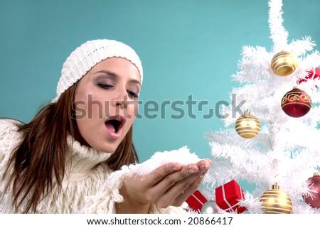 snow blowing christmas wish - stock photo