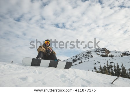 Snow boarder at Whistler resort in Canada - stock photo