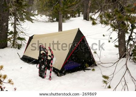 Snow Camping - stock photo