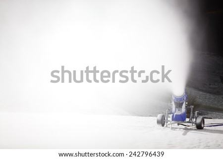 snow cannon at night - stock photo