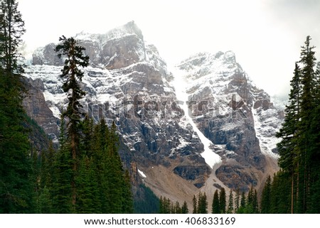Snow capped mountain of Banff National Park in Canada - stock photo