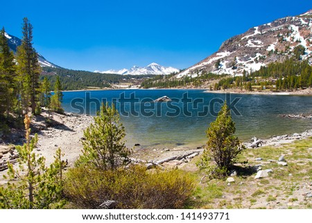 Snow-capped Mountains and Lake in Yosemite National Park,California - stock photo
