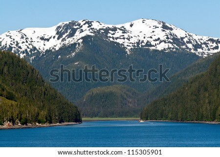 Snow capped mountains and thick forest line the inlet of the Inside Passage in Alaska - stock photo