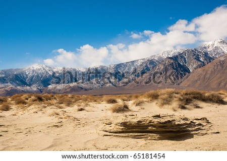 snow capped mountains in Death Valley during the winter