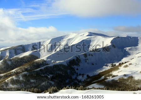 Snow capped mountains in the remote Utah wilderness, USA. - stock photo