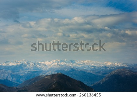 Snow-capped mountains. Mountains of Montenegro - stock photo