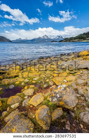 Snow capped mountains of Patagonia from Argentina - stock photo