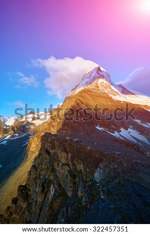 Snow capped mountains.   View of the  Matterhorn mount.