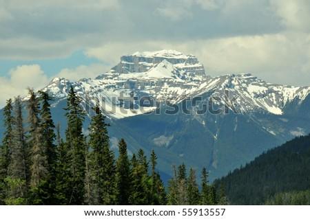 snow capped peak, banff national park, canadian rockies - stock photo