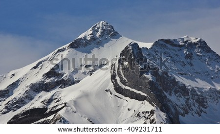 Snow capped peak of Mt Oldenhorn
