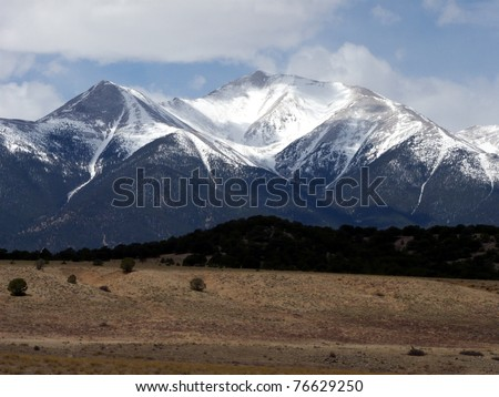 Snow capped peaks in the Colorado Rockies during early Spring