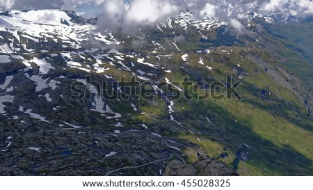 Snow capped peaks seen from Mt. Dalsnibba near Geiranger in Norway