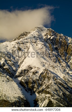 Snow capped peaks with sharp ridges and spin drift in New Zealand