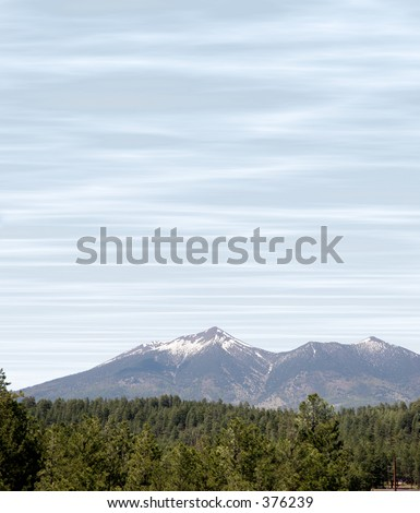 Snow capped San Francisco Peaks shot from Flagstaff, Arizona - stock photo