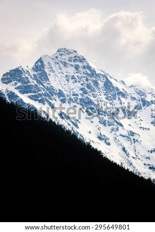 Snow Capped Summit at Olympic National Park  - stock photo