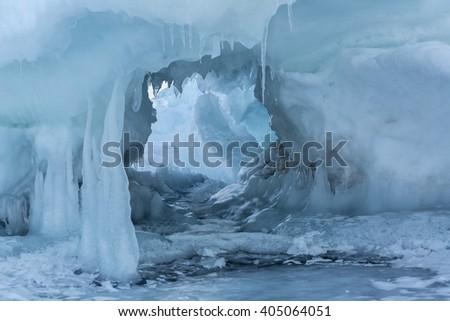 Snow caves of ice. - stock photo