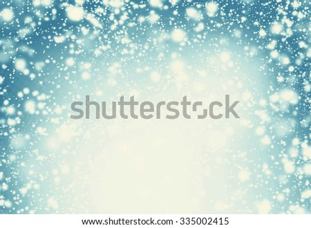 Snow Christmas Abstract Background - Festive lights, snowflakes and stars   - stock photo