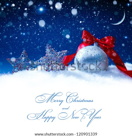 snow christmas magic lights background - stock photo