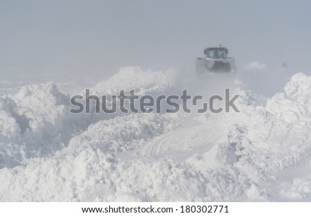snow cleaning  after a blizzard - stock photo