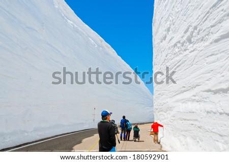 Snow corridor in Japan - stock photo