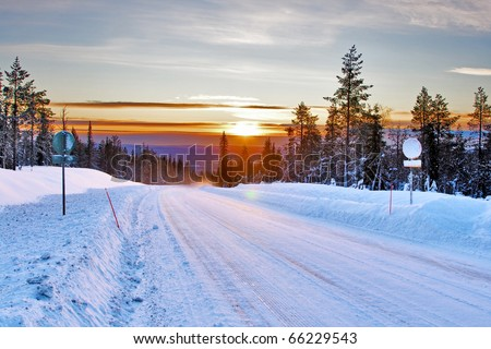 snow country road - stock photo
