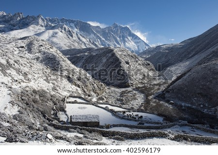 snow cover shadow mountain Pheriche Village on the way to everest basecamp nepal - stock photo