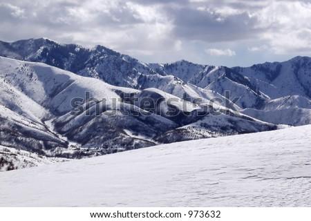 Snow-covered alpine mountains near Salt Lake City, Utah. - stock photo