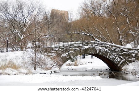 Snow covered arch in Central Park New York