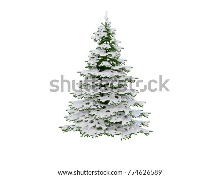 snow covered christmas pine tree isolated on white background 3d render - Snow Covered Christmas Trees