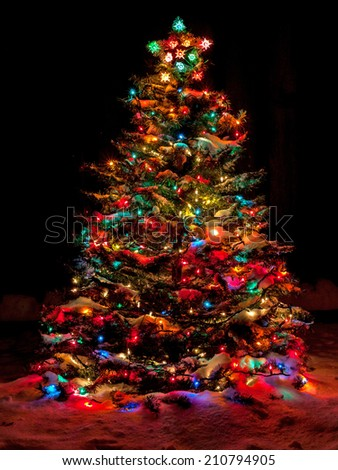 Snow Covered Christmas Tree with Multi Colored Lights at Night