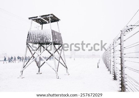 Snow covered concentration camp of Auschwitz Birkenau, Poland - stock photo