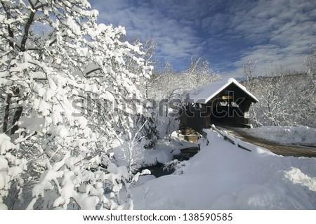 Snow covered Emilys Bridge, Stowe, Vermont, USA - stock photo